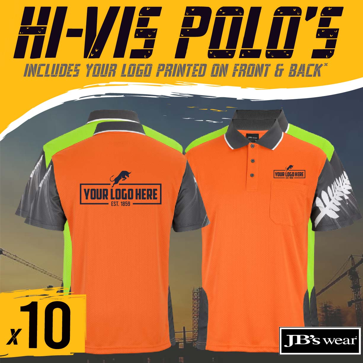 Hi Vis Polo Shirts-Custom Printed-16